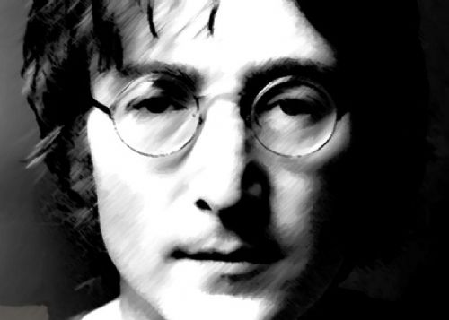 THE BEATLES - JOHN LENNON - BW paint style canvas print - self adhesive poster - photo print